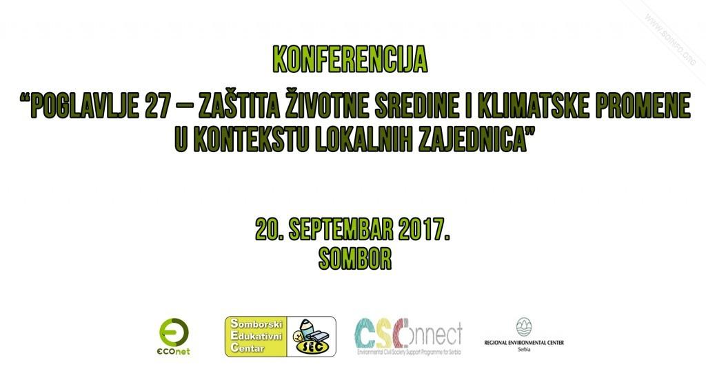"""Konferencija """"Poglavlje 27 – Zaštita životne sredine i klimatske promene u kontekstu lokalnih zajednica - plakat"""