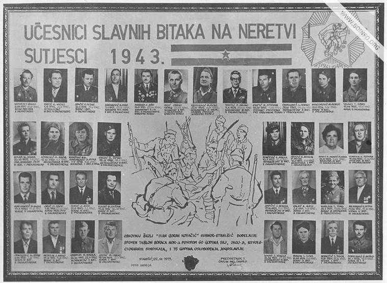 Dalmatinci, učesnici bitaka na Neretvi i Sutjesci 1943. godine. Posle 1945. kolonizovani u Stanišić.