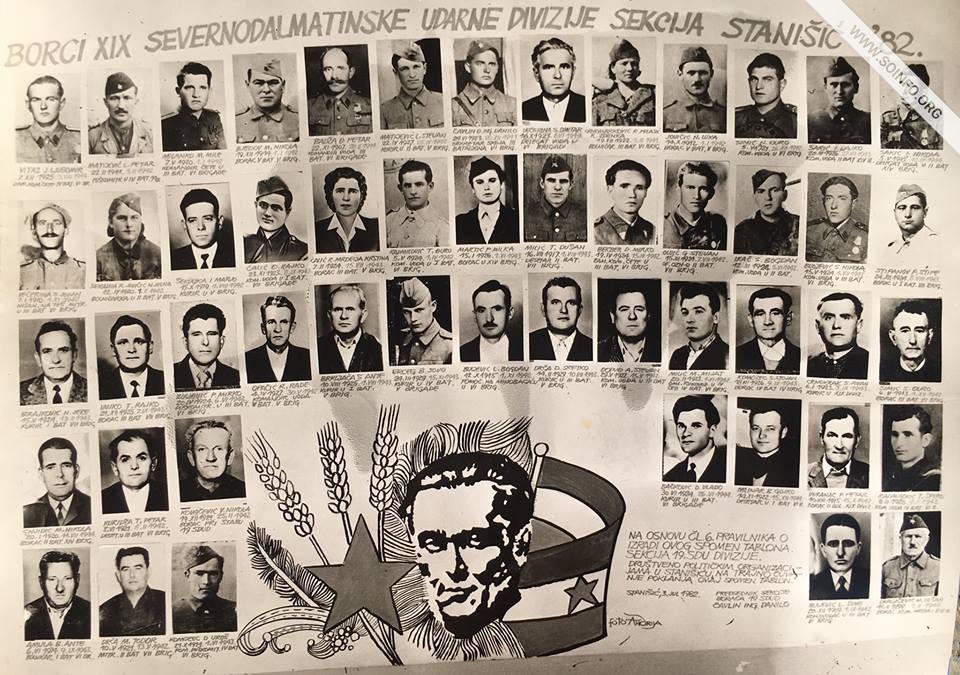 19. Severno-dalmatinska divizija. Na slici su borci koji će posle kolonizacije 1945-48. godine naseliti vojvođansko mesto Stanišić.